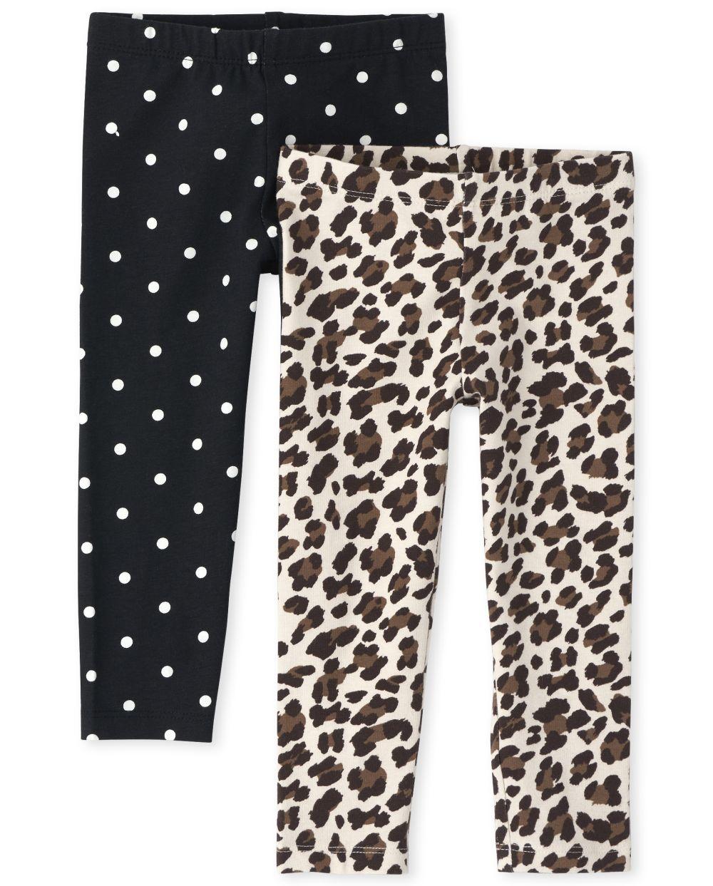 Pack de 2 leggings de lunares florales para niñas pequeñas