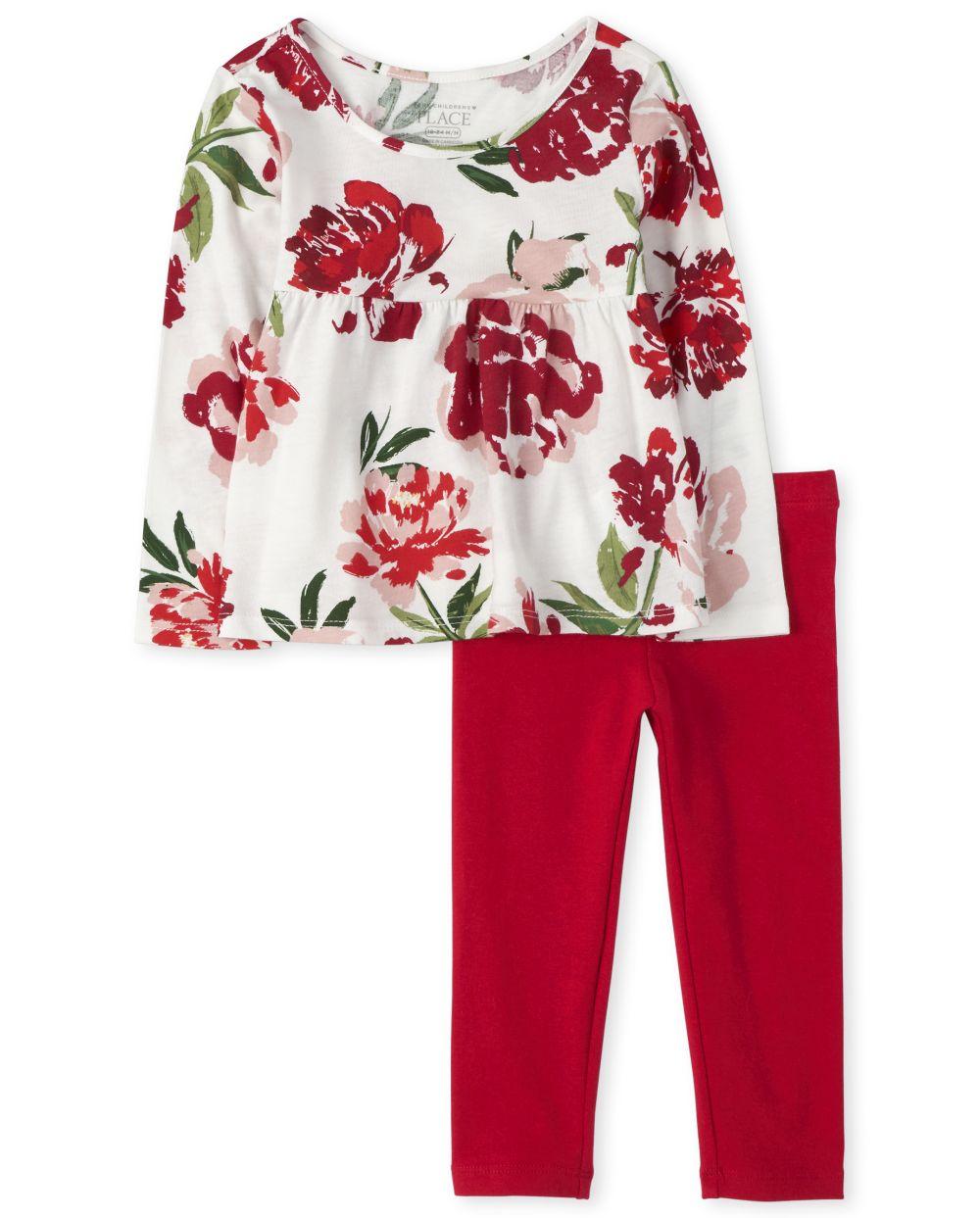 Conjunto de traje floral para niñas pequeñas