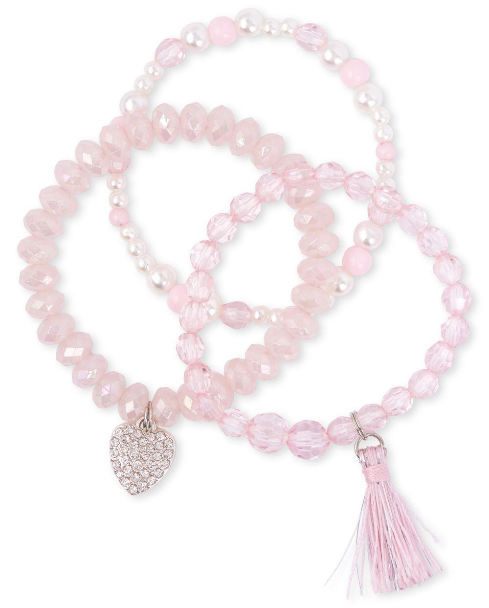 Paquet de 3 bracelets en perles à pampilles pour filles