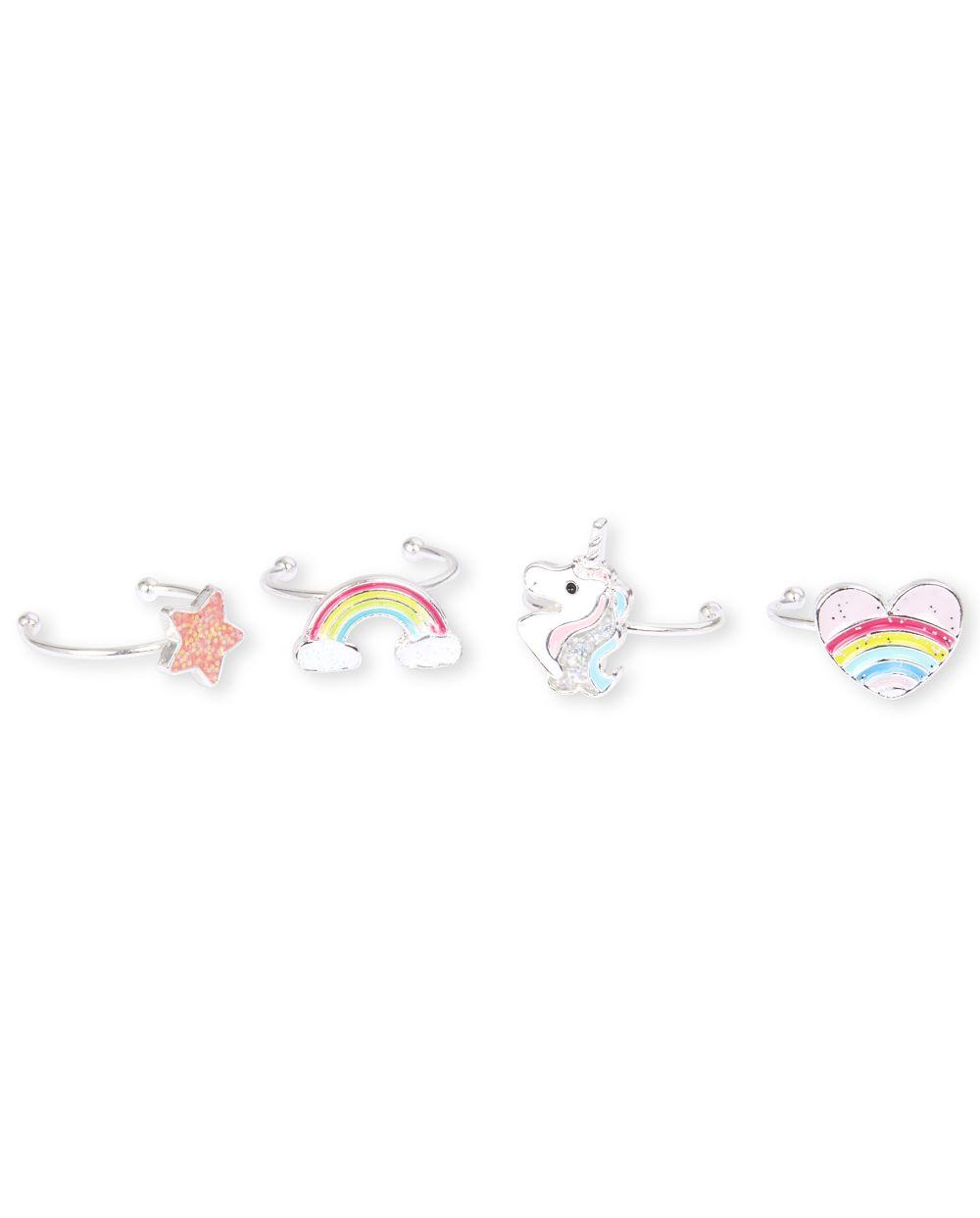 Anillo de arcoiris para niñas, paquete de 4