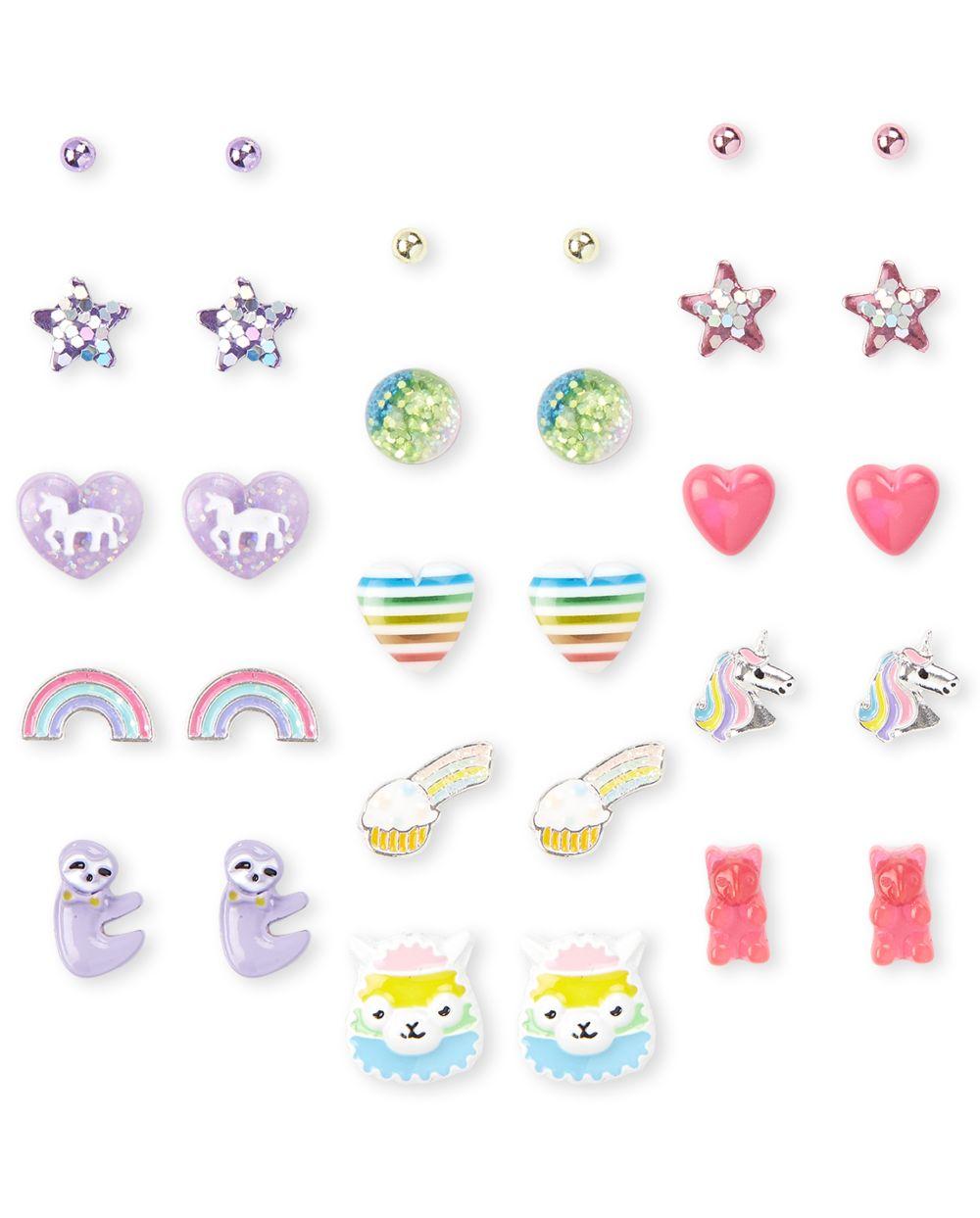 Pendientes Rainbow para niñas, paquete de 15