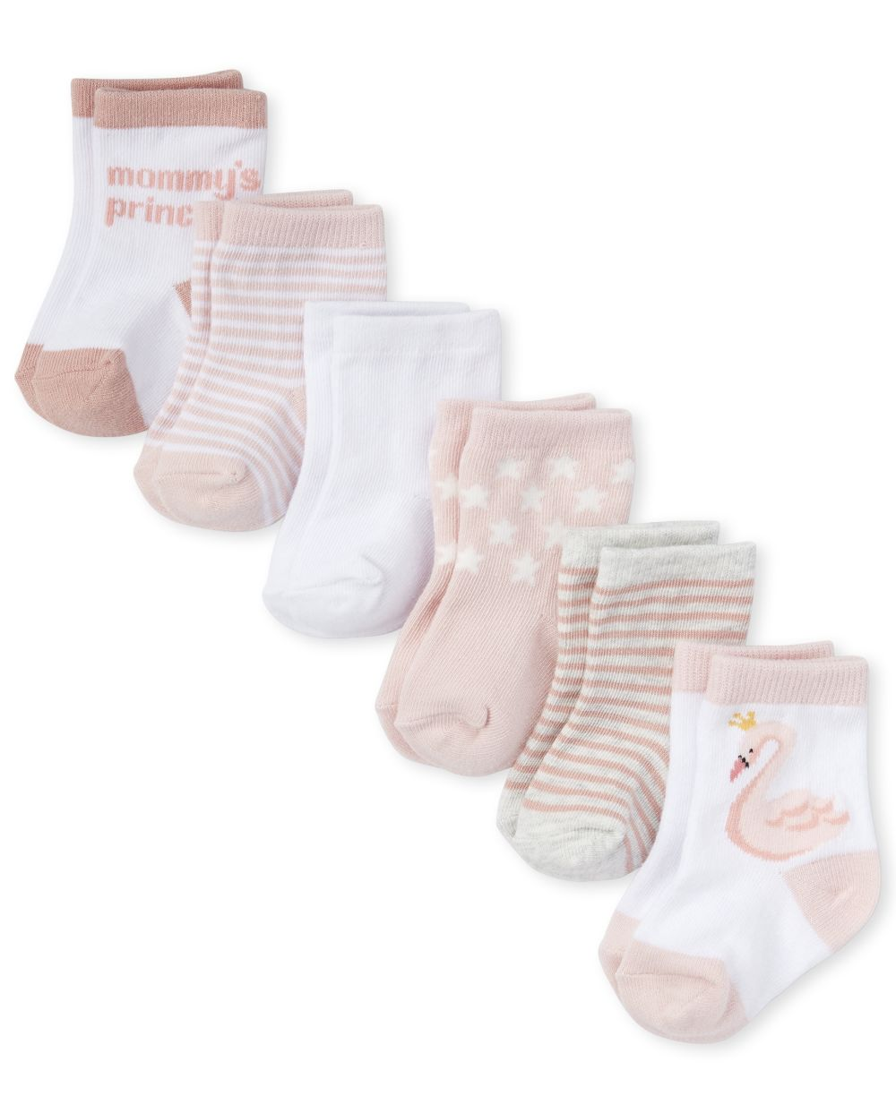 Baby Girls Swan Midi Socks 6-Pack