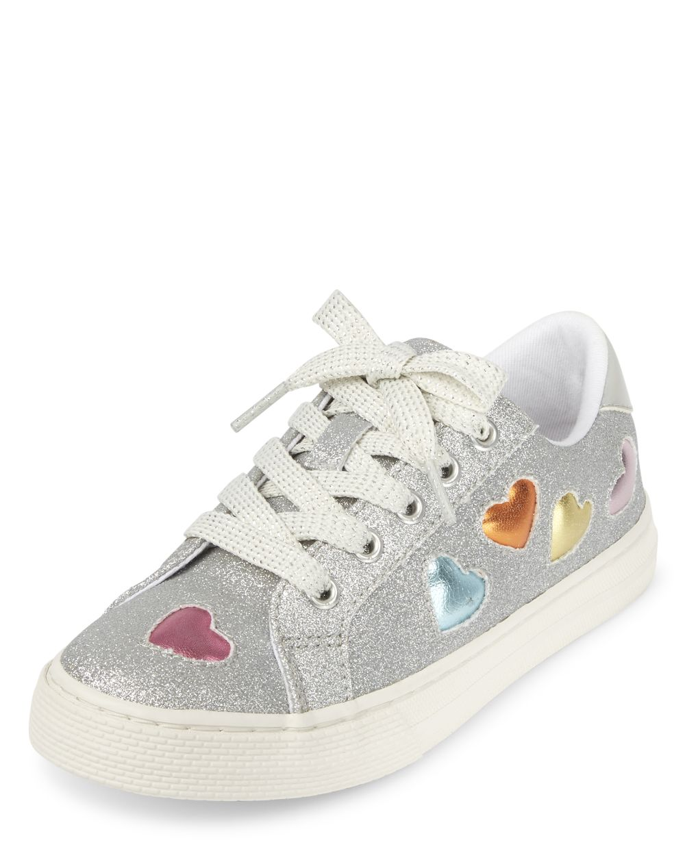 Girls Glitter Heart Low Top Sneakers