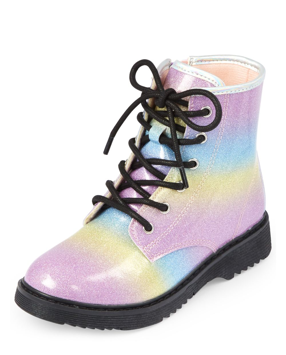 Girls Glitter Rainbow Lace Up Booties