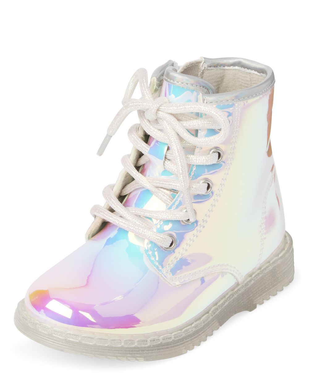 Toddler Girls Holographic Lace Up Booties