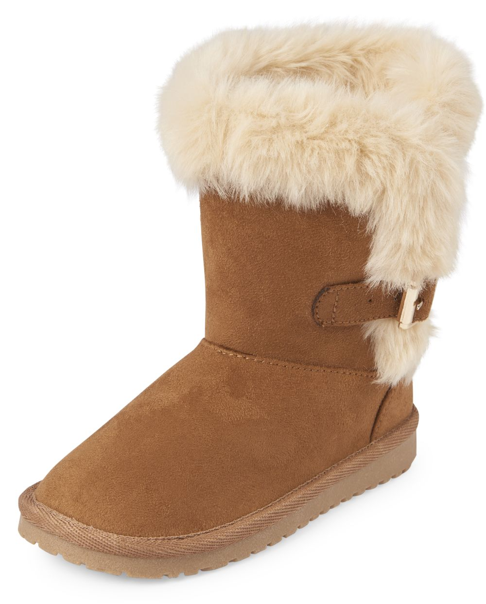 Girls Buckle Faux Fur Boots