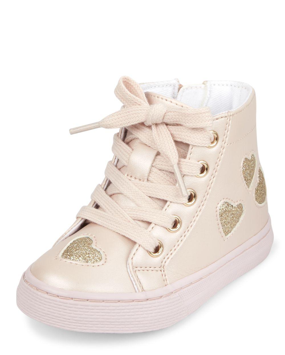 Zapatillas altas con purpurina y corazones pequeños para niñas pequeñas