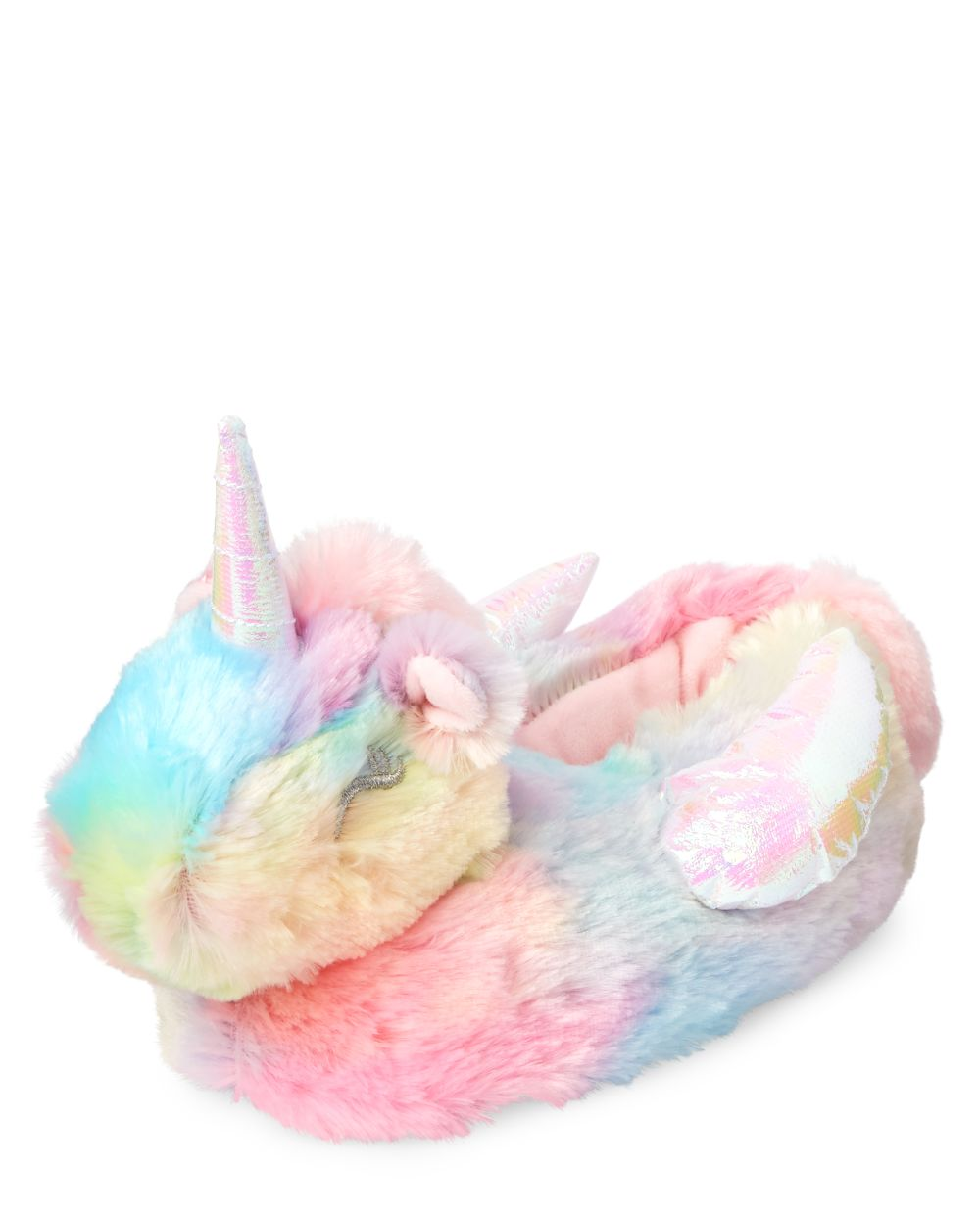 Girls Rainbow Unicorn Faux Fur Slippers