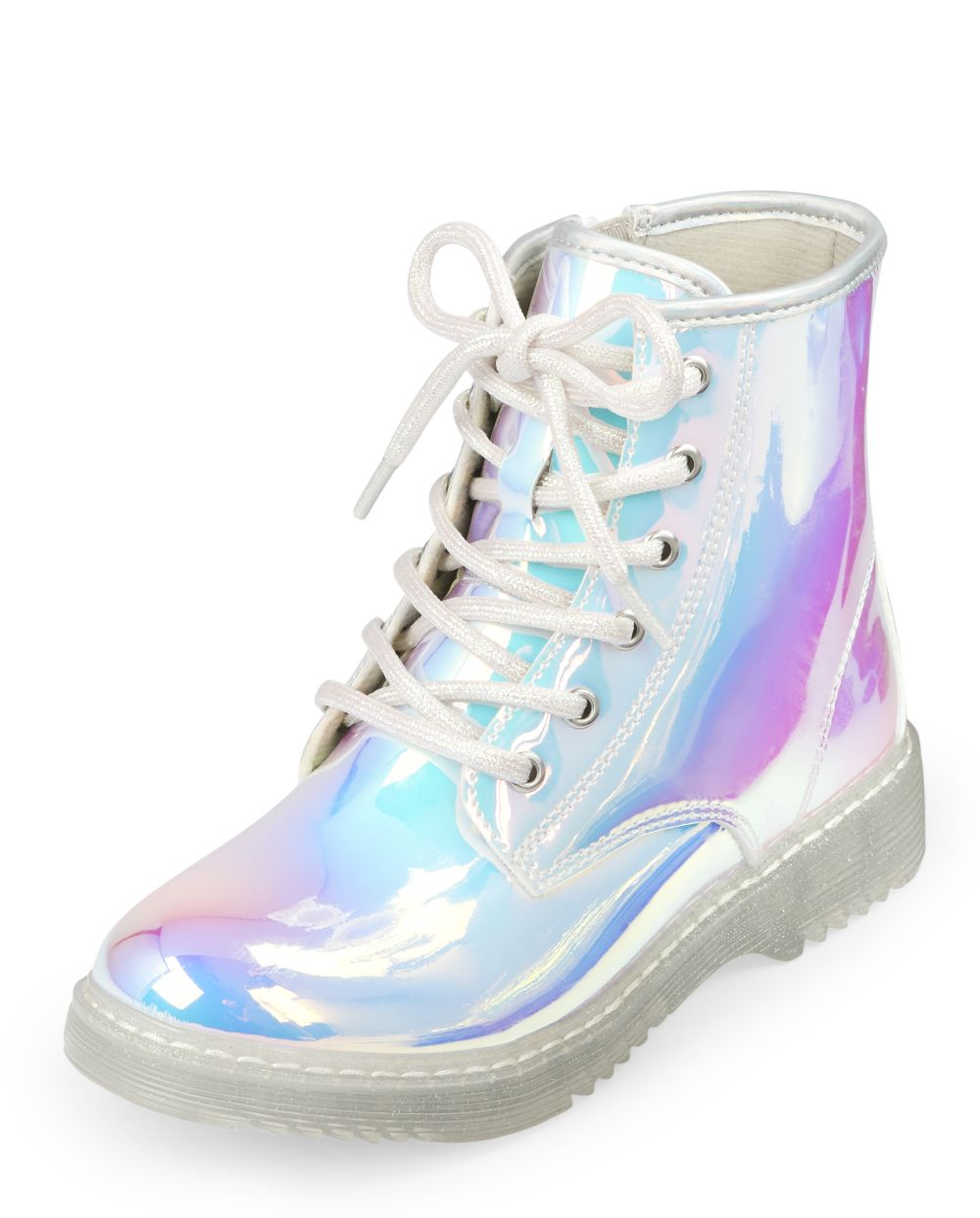 Girls Holographic Lace Up Booties