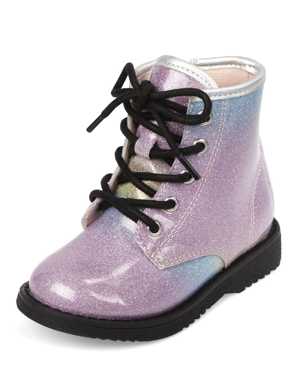 Toddler Girls Glitter Rainbow Lace Up Booties