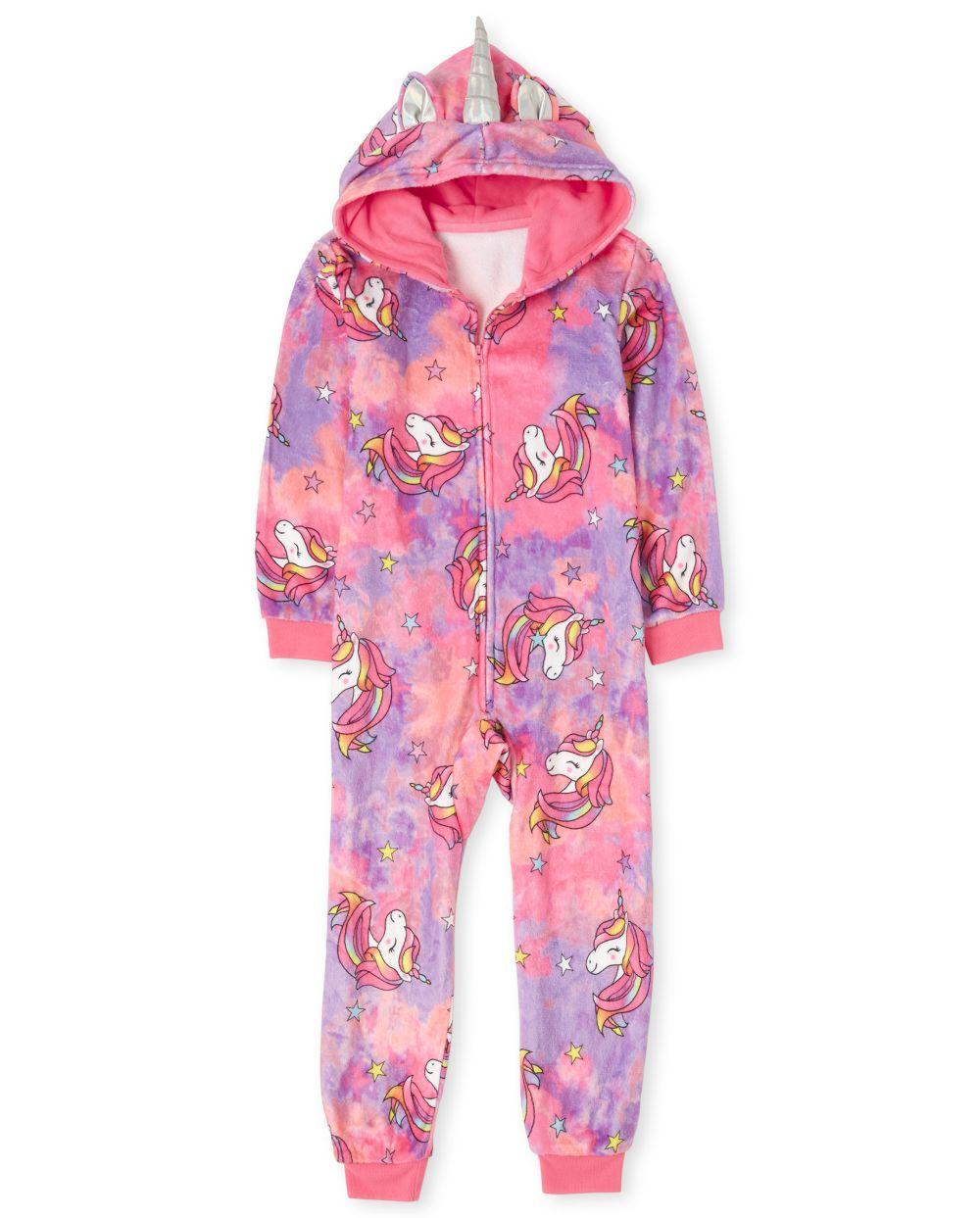 Girls Mommy And Me Unicorn Tie Dye Fleece Matching One Piece Pajamas