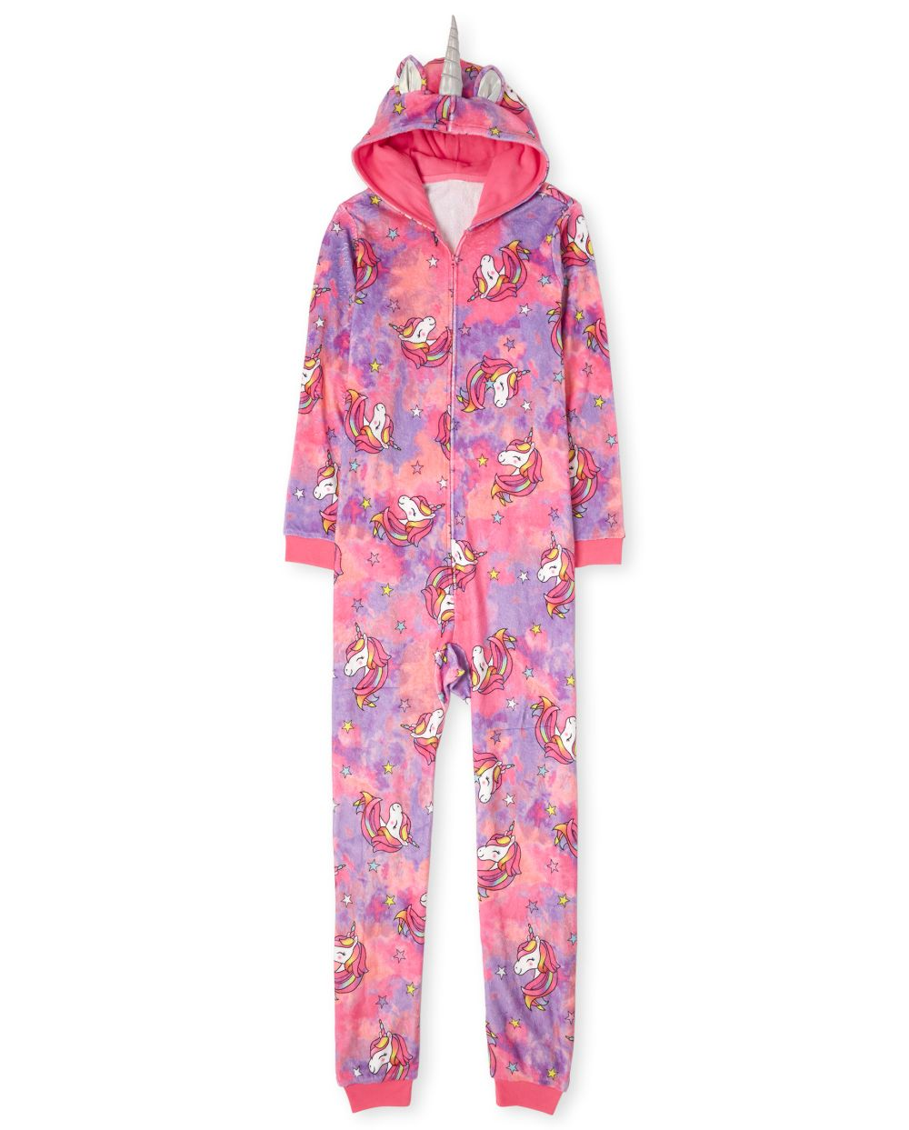 Womens Mommy And Me Unicorn Tie Dye Fleece Matching One Piece Pajamas