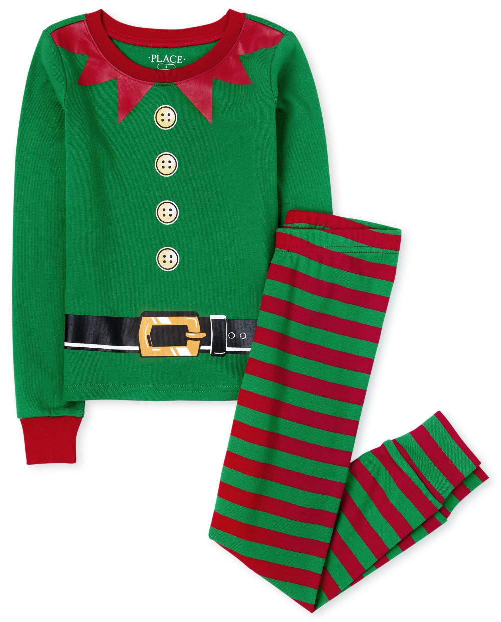 Unisex Kids Matching Family Elf Snug Fit Cotton Pajamas
