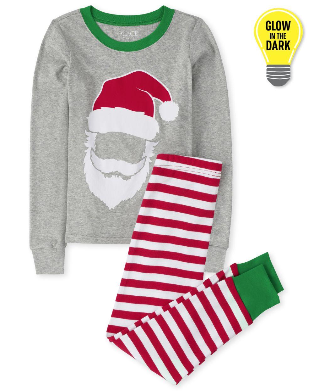Unisex Kids Matching Family Glow Santa Striped Snug Fit Cotton Pajamas