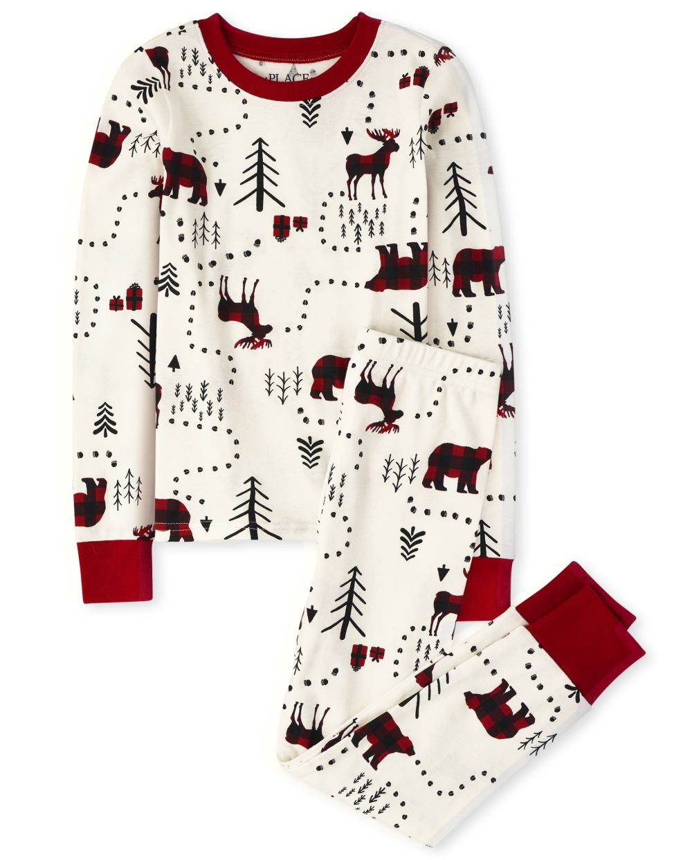 Unisex Kids Matching Family Winter Forest Snug Fit Cotton Pajamas