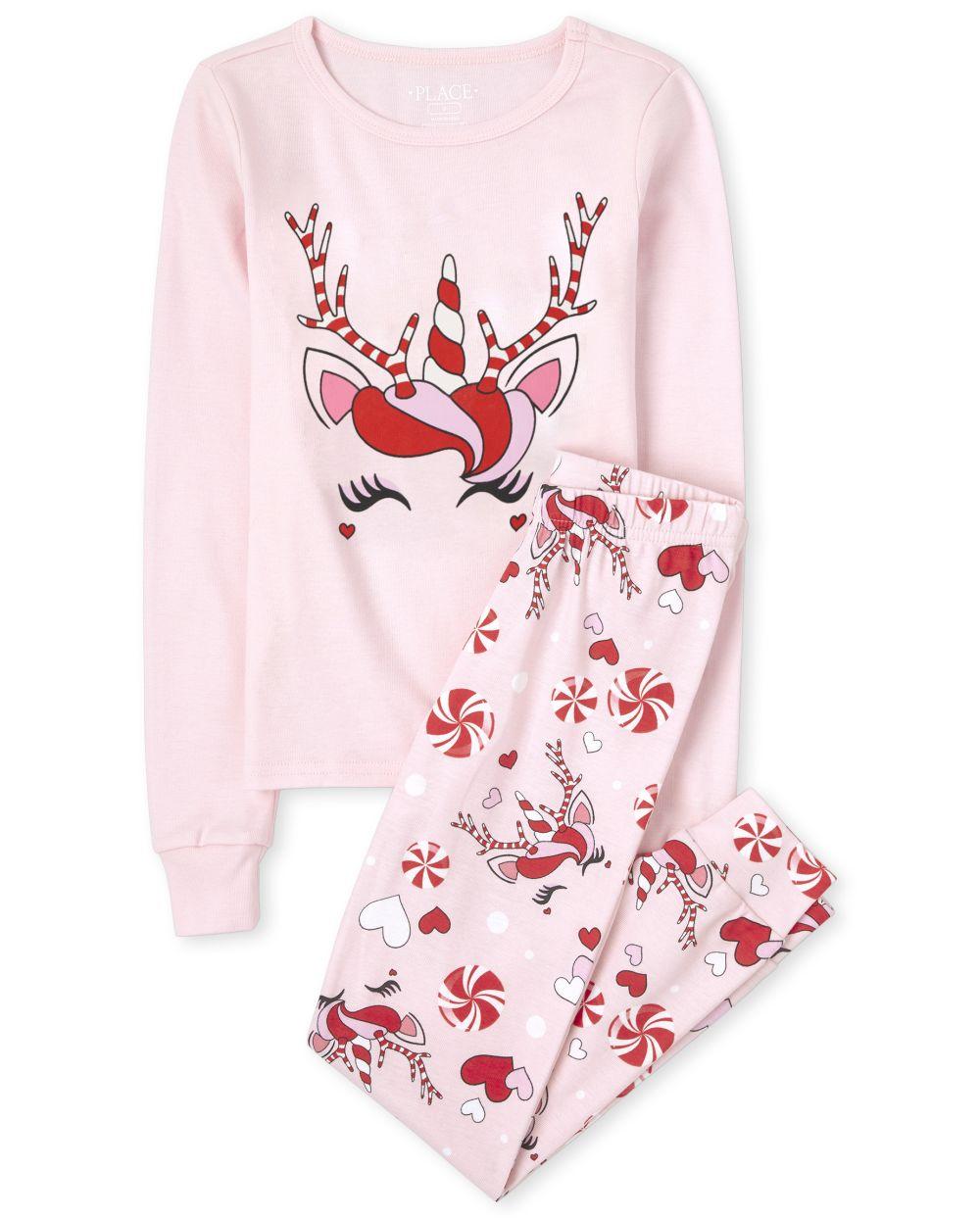 Girls Mommy And Me Christmas Unicorn Snug Fit Cotton Matching Pajamas