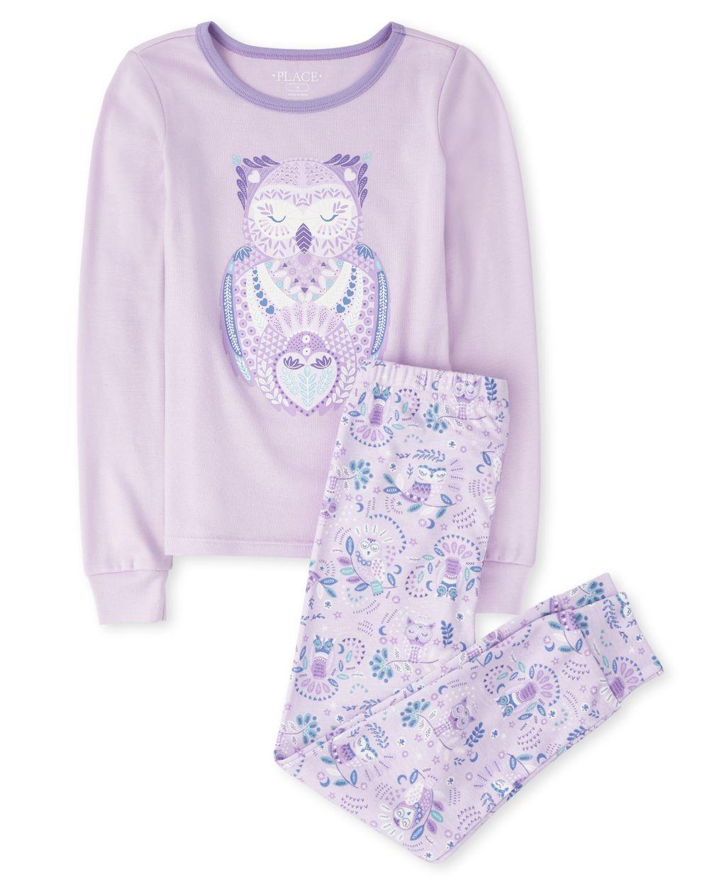 Girls Owl Snug Fit Cotton Pajamas