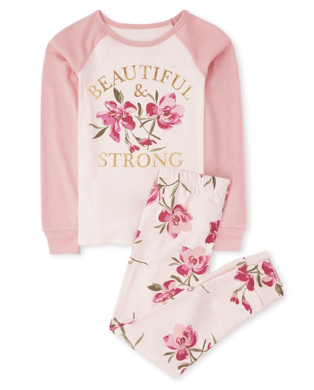 Girls Beautiful Floral Snug Fit Cotton Pajamas