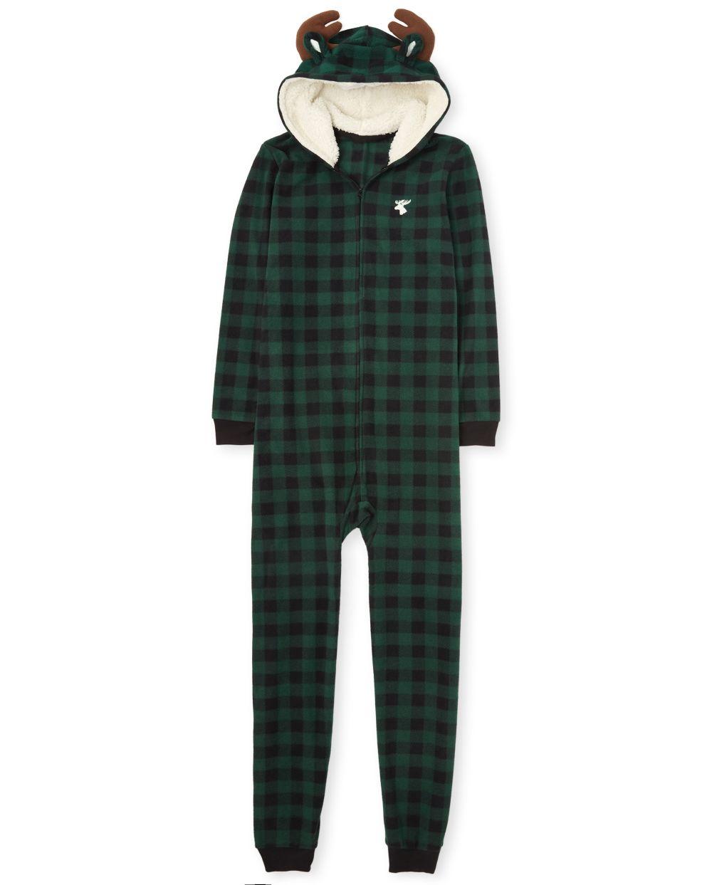Unisex Adult Matching Family Moose Buffalo Plaid Fleece One Piece Pajamas