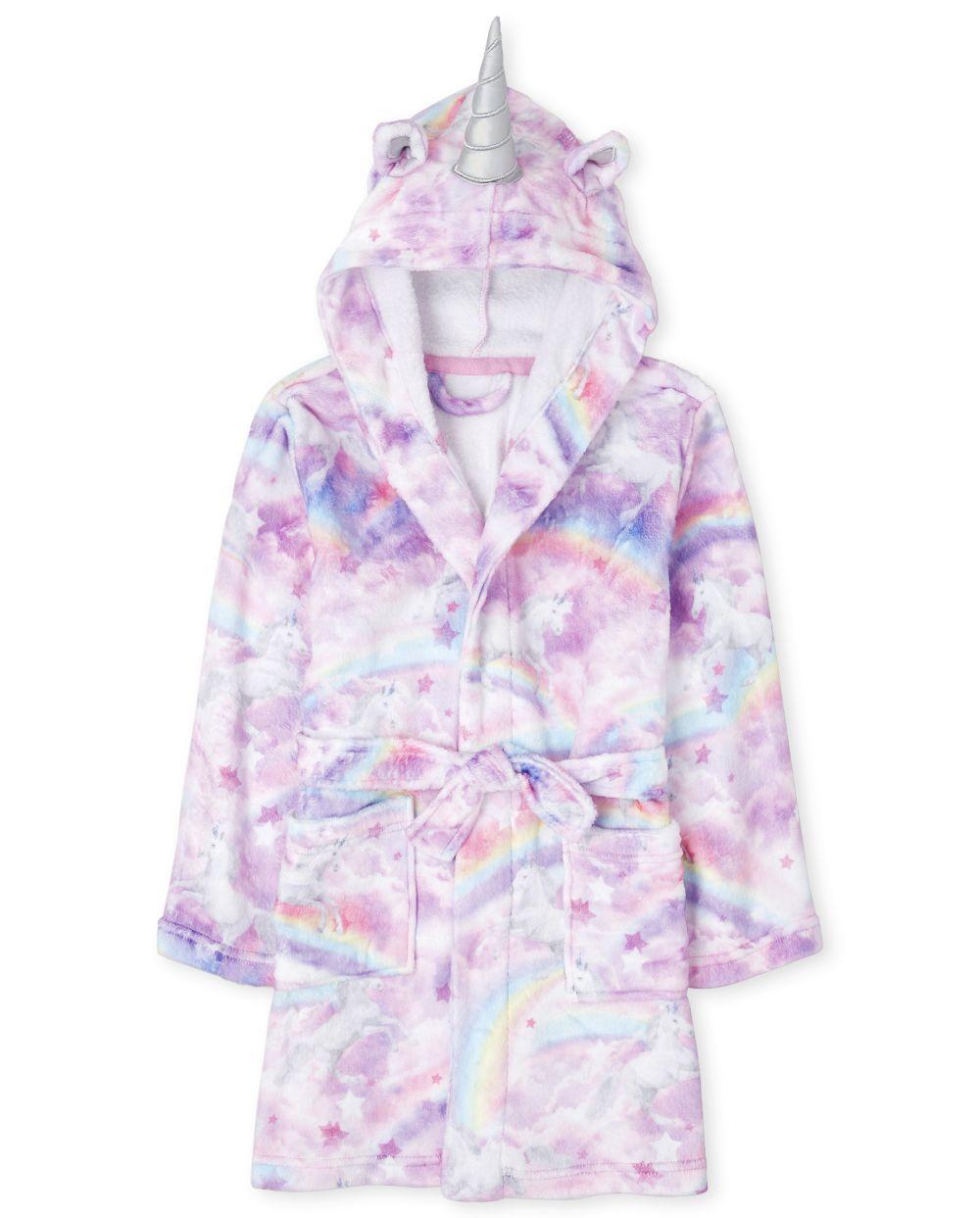 Girls Unicorn Cloud Fleece Robe