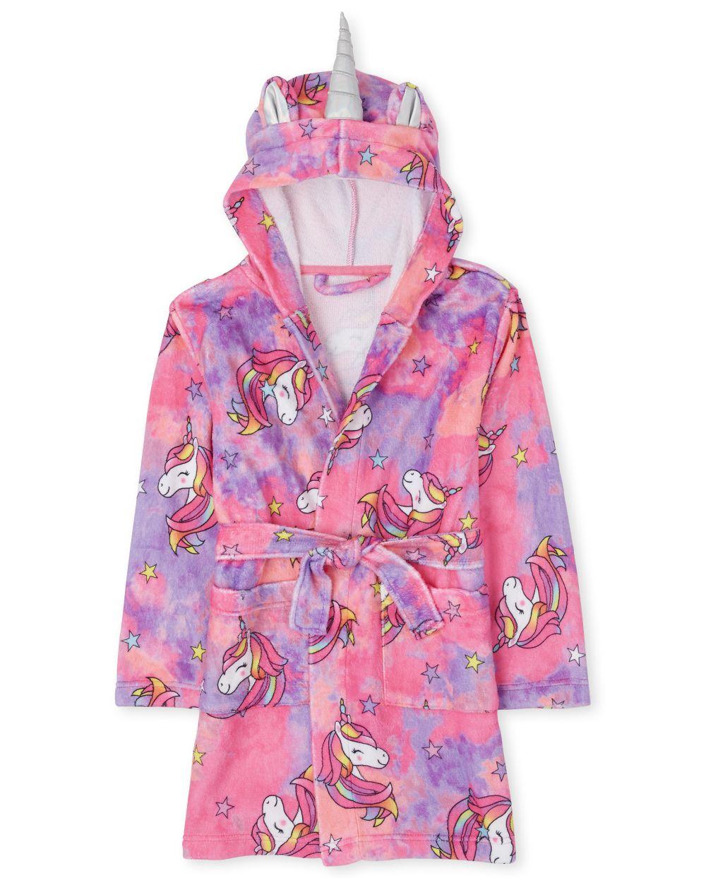 Girls Mommy And Me Unicorn Tie Dye Fleece Matching Robe