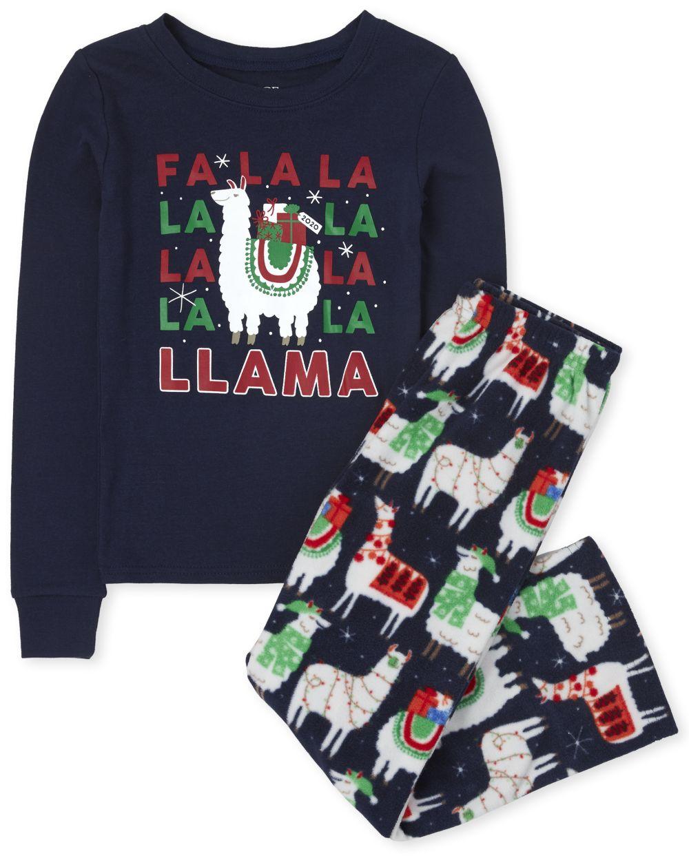 Unisex Kids Matching Family Festive Llama Snug Fit Cotton And Fleece Pajamas