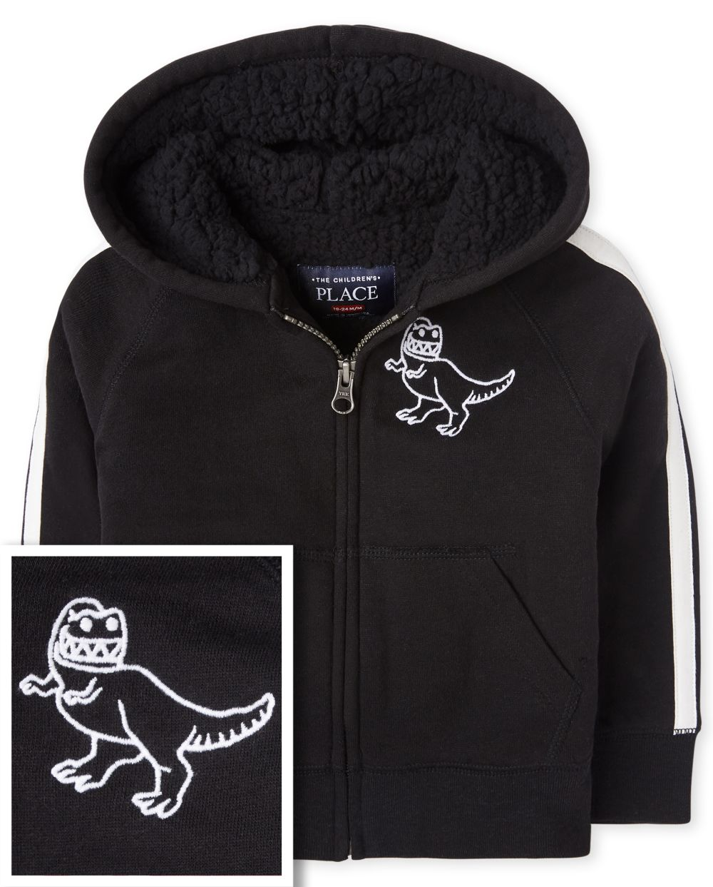 Baby And Toddler Boys Dino Sherpa Fleece Zip Up Hoodie