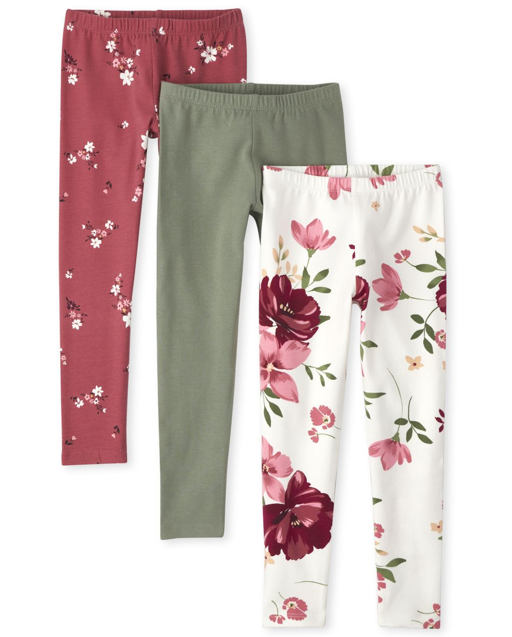 Girls Floral Leggings 3-Pack