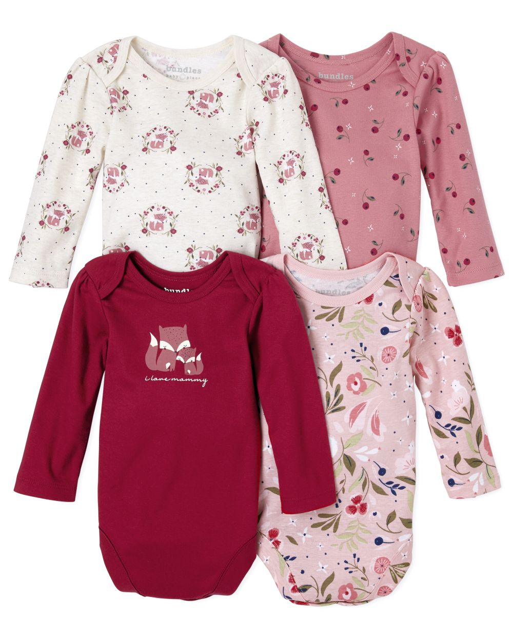 Baby Girls Floral Fox Bodysuit 4-Pack