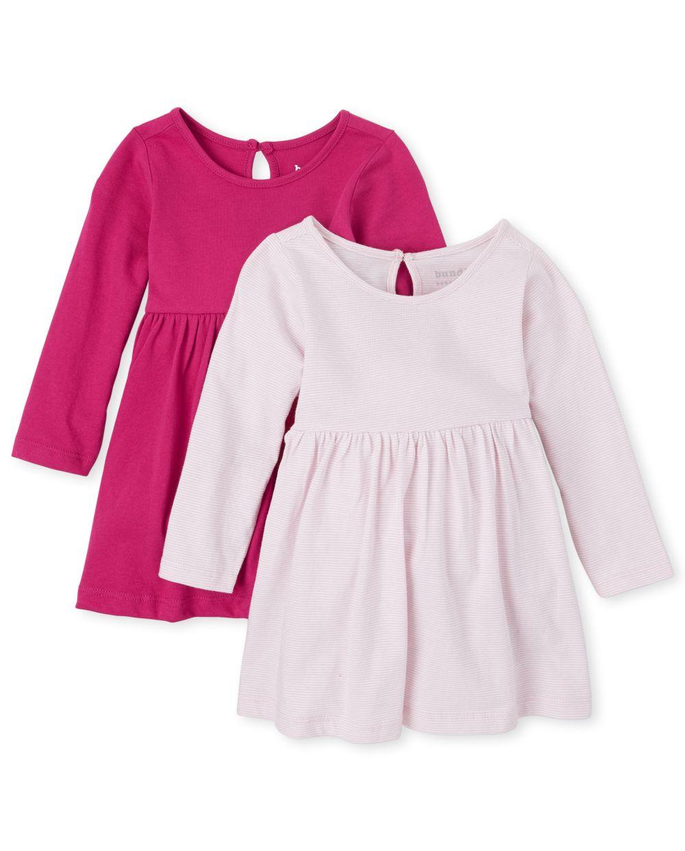 Baby Girls Striped Bodysuit Dress 2-Pack