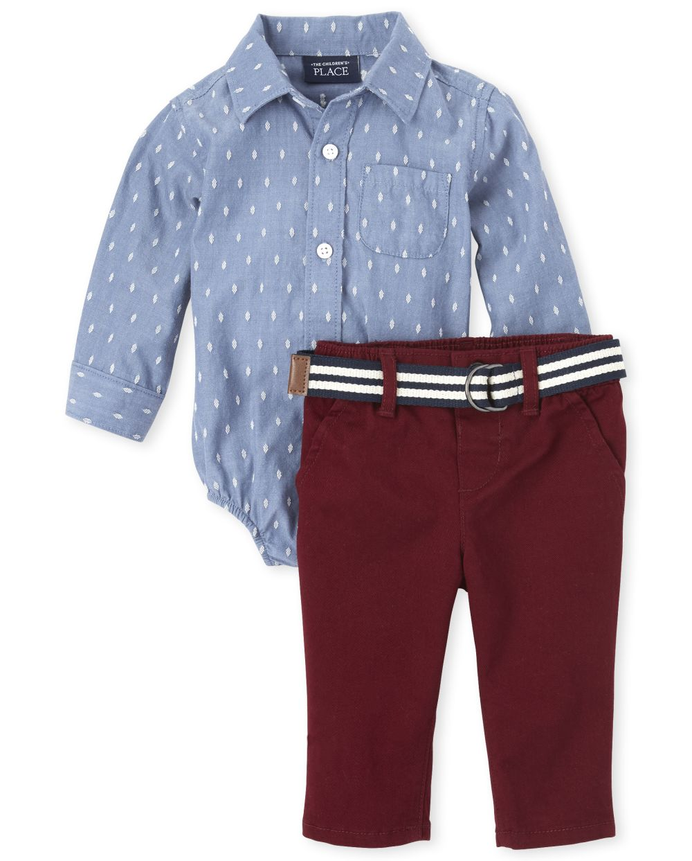 Baby Boys Chambray Button Down Bodysuit Outfit Set