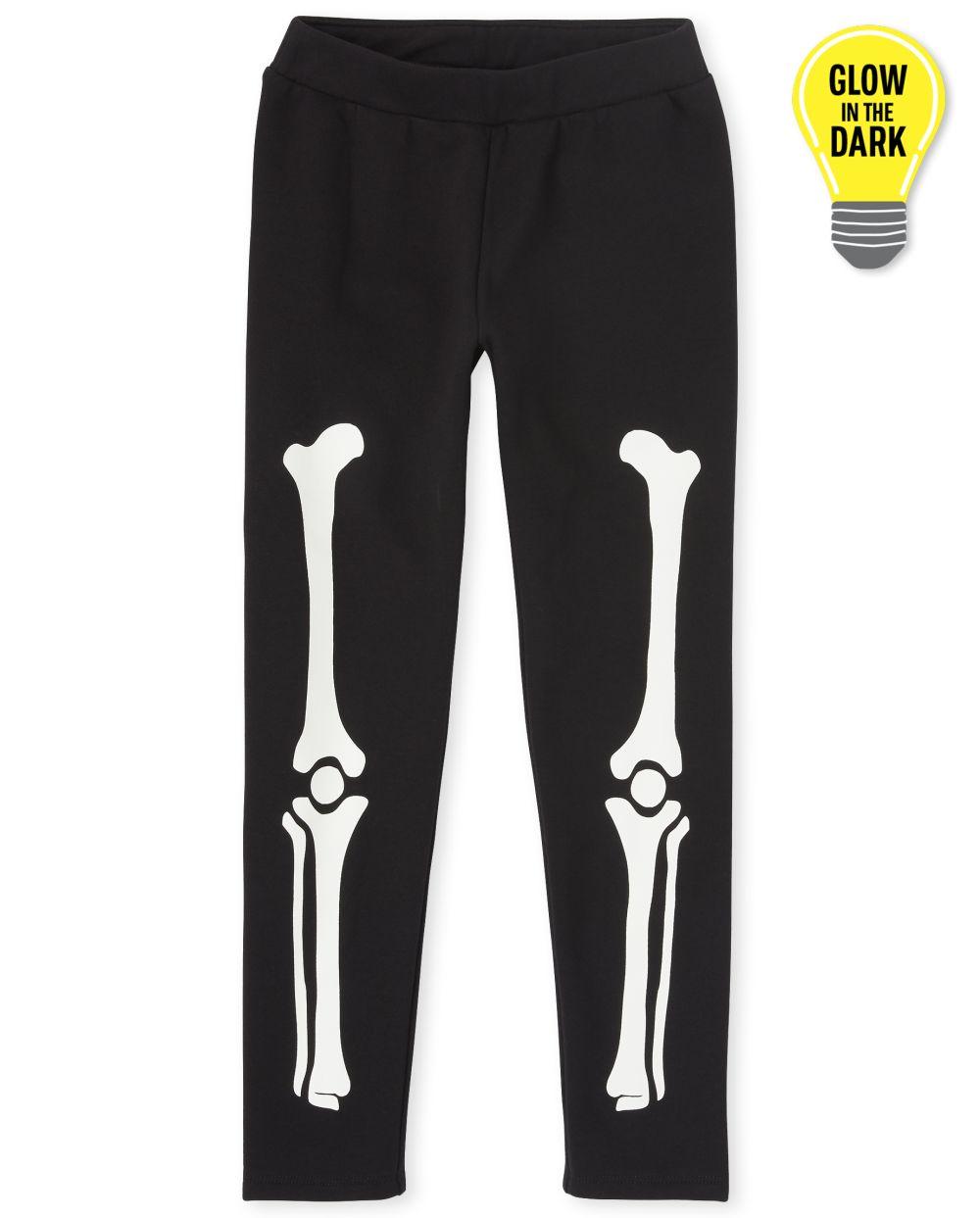 Niñas Mommy And Me Halloween Glow Skeleton Matching Leggings cómodos
