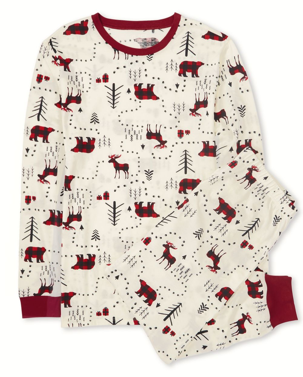 Unisex Adult Matching Family Winter Forest Cotton Pajamas