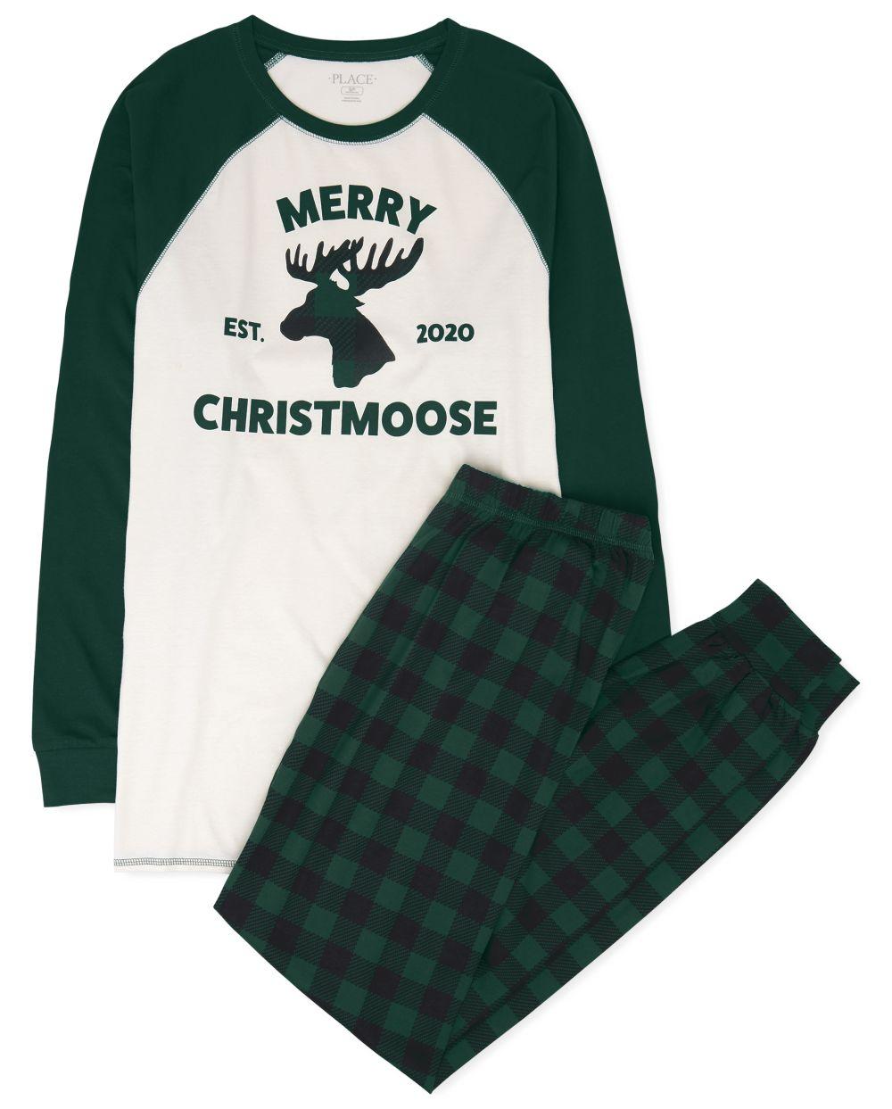 Pijama de algodón de alce navideño familiar a juego para adultos unisex