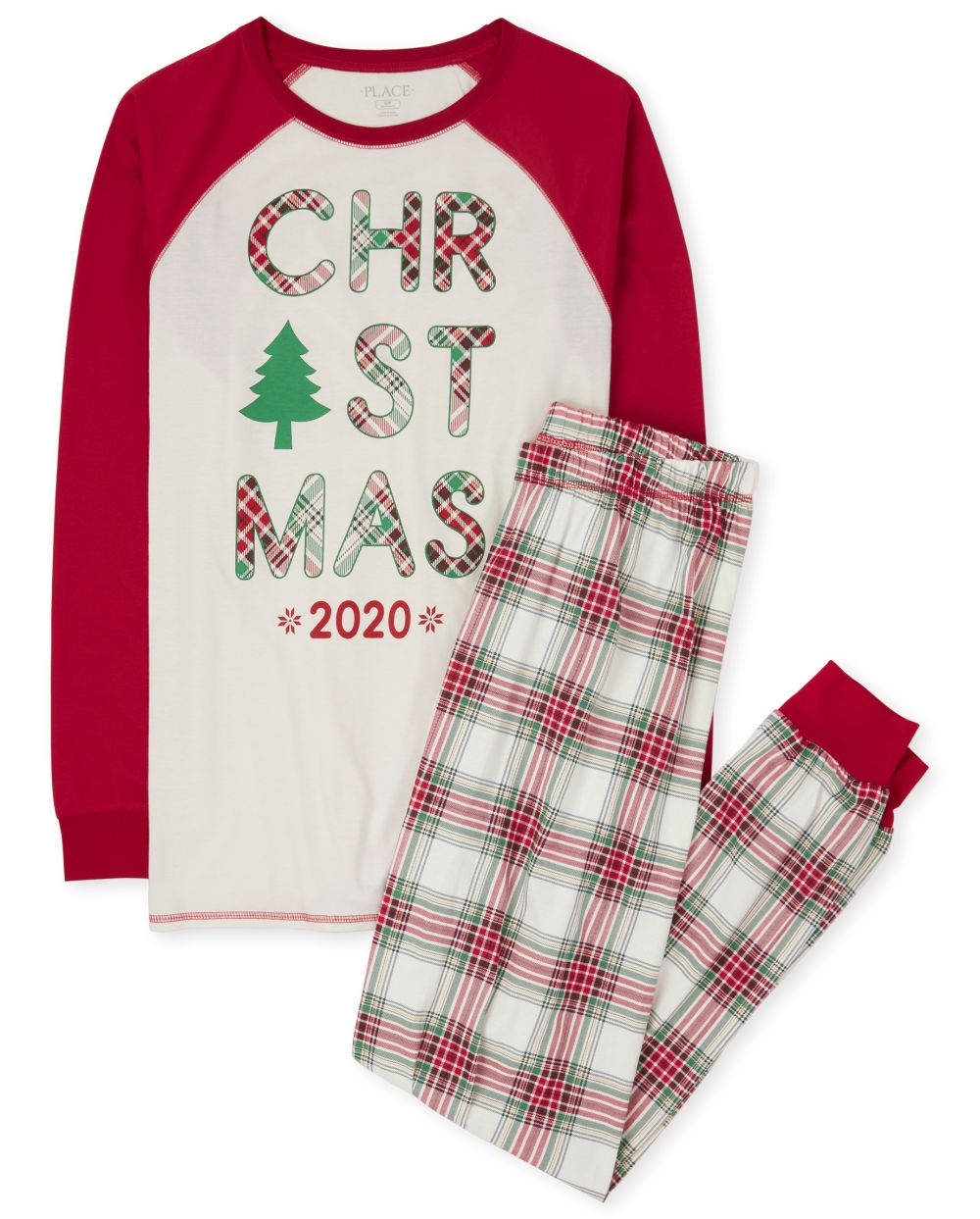 Pijama de algodón de tartán navideño familiar a juego unisex para adultos