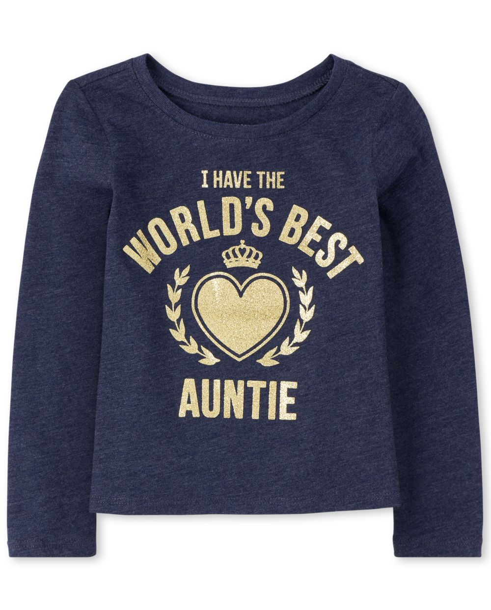 Baby And Toddler Girls Glitter Auntie Graphic Tee