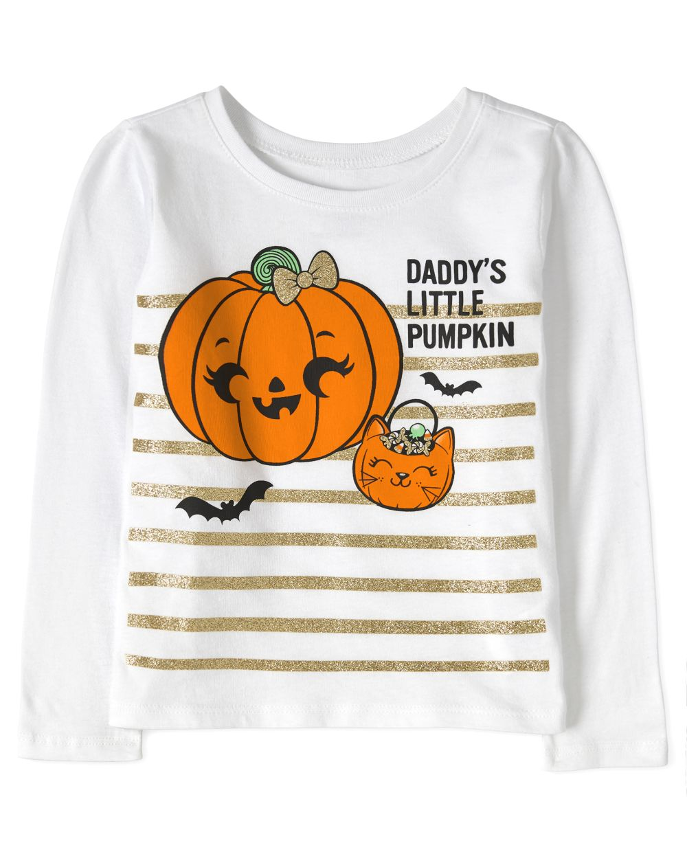 Baby And Toddler Girls Halloween Daddy's Little Pumpkin Graphic Tee
