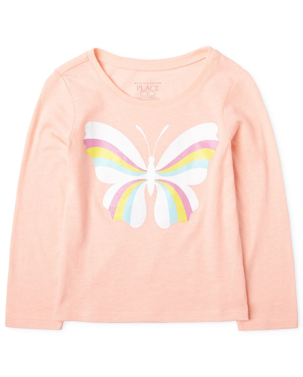 Baby And Toddler Girls Rainbow Butterfly Graphic Tee