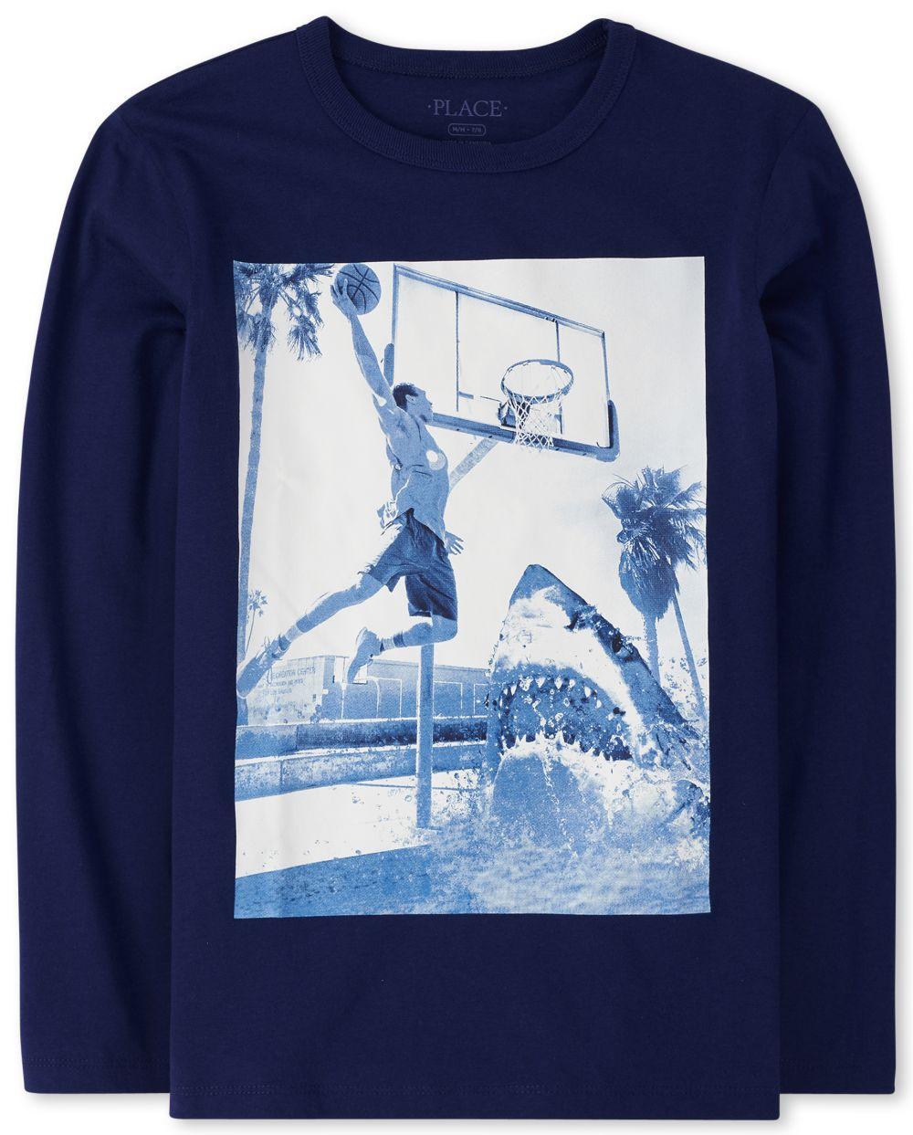Boys Shark Basketball Graphic Tee