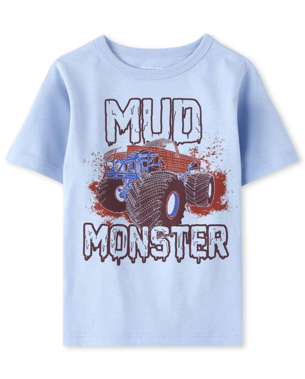 Camiseta con gráfico de monstruo de barro para bebés y niños pequeños