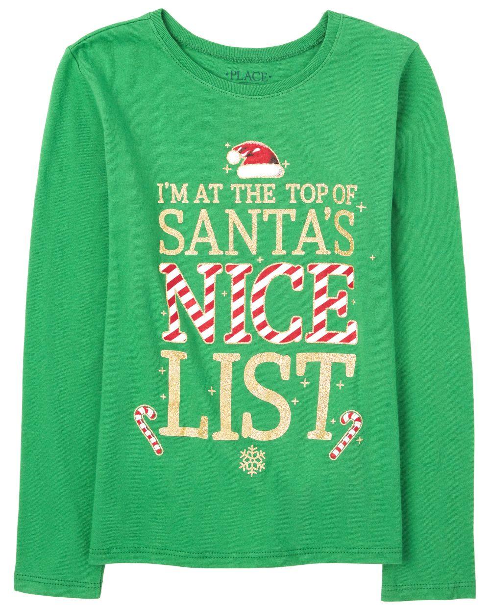Girls Christmas Glitter Nice List Graphic Tee