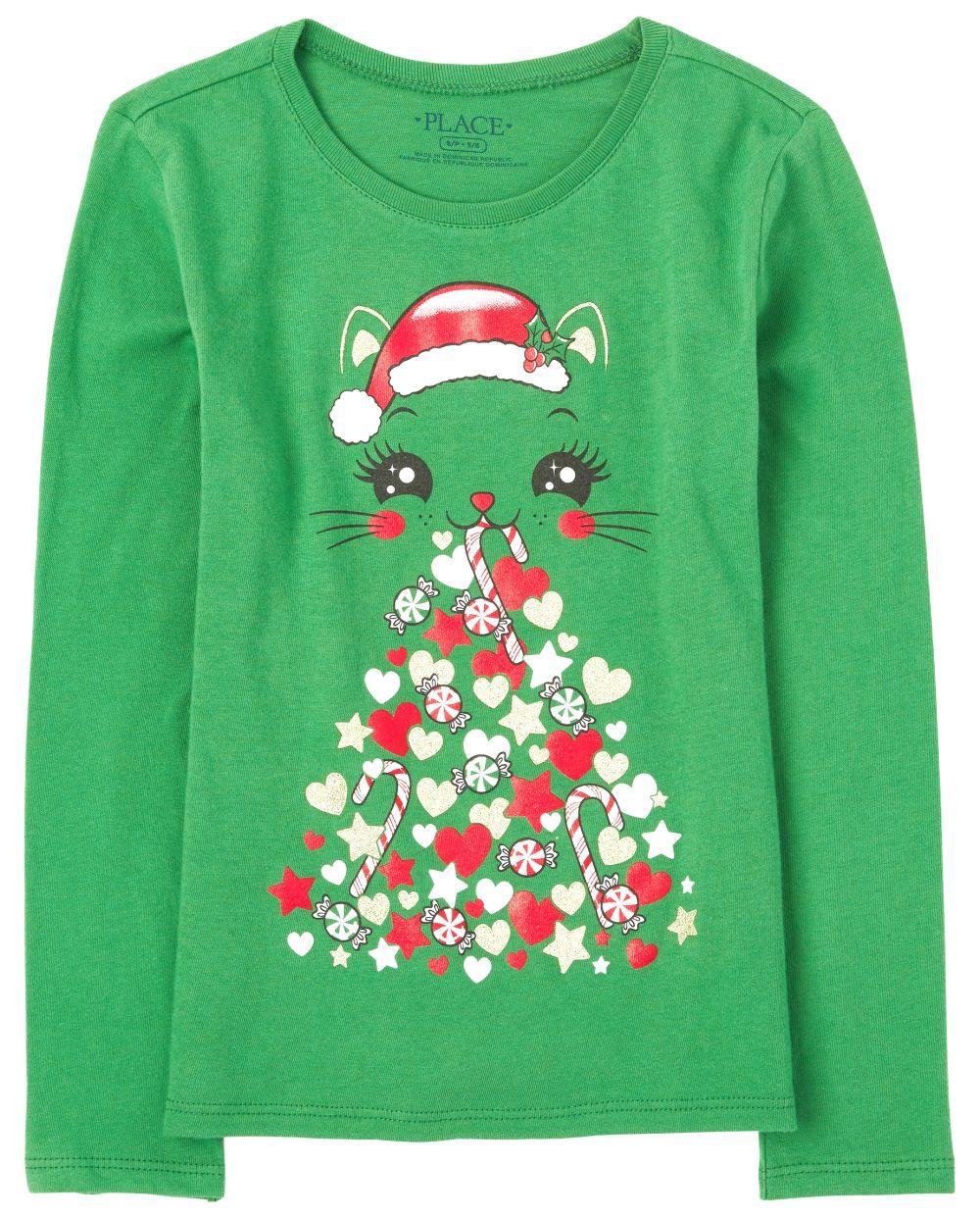 Girls Christmas Cat Graphic Tee