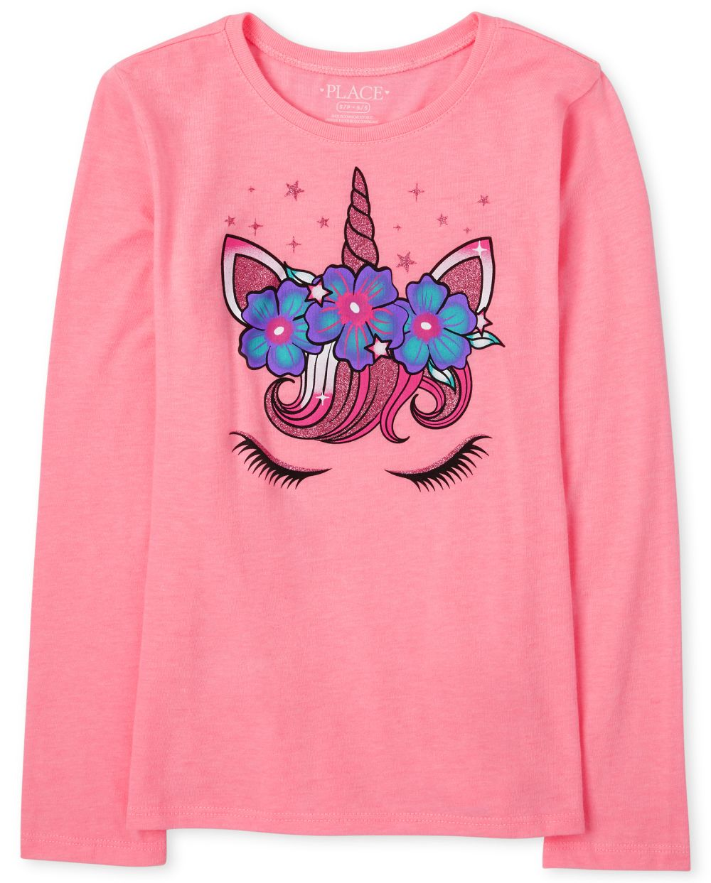 Girls Unicorn Face Graphic Tee