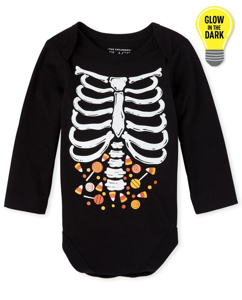Body unisex con estampado de esqueleto de caramelo brillante de Halloween para bebé