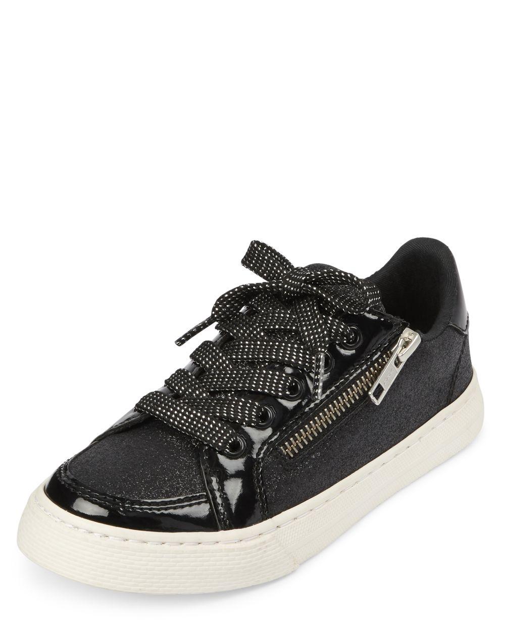 Girls Glitter Zip Low Top Sneakers