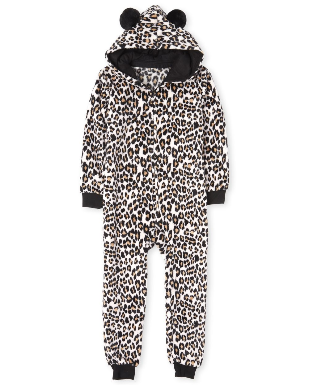 Girls Mommy And Me Leopard Fleece Matching One Piece Pajamas