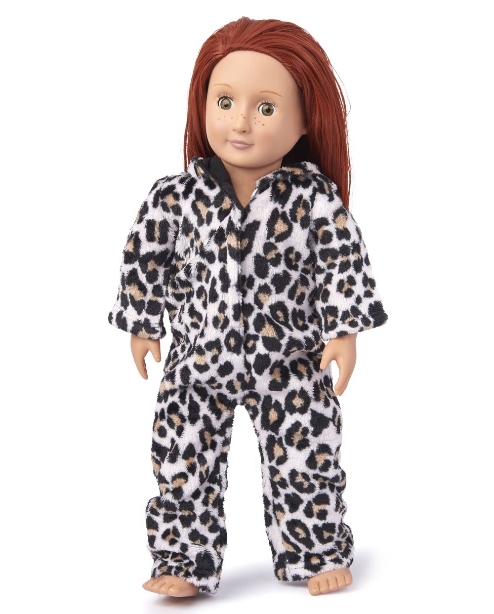 Doll Mommy And Me Leopard Fleece Matching One Piece Pajamas