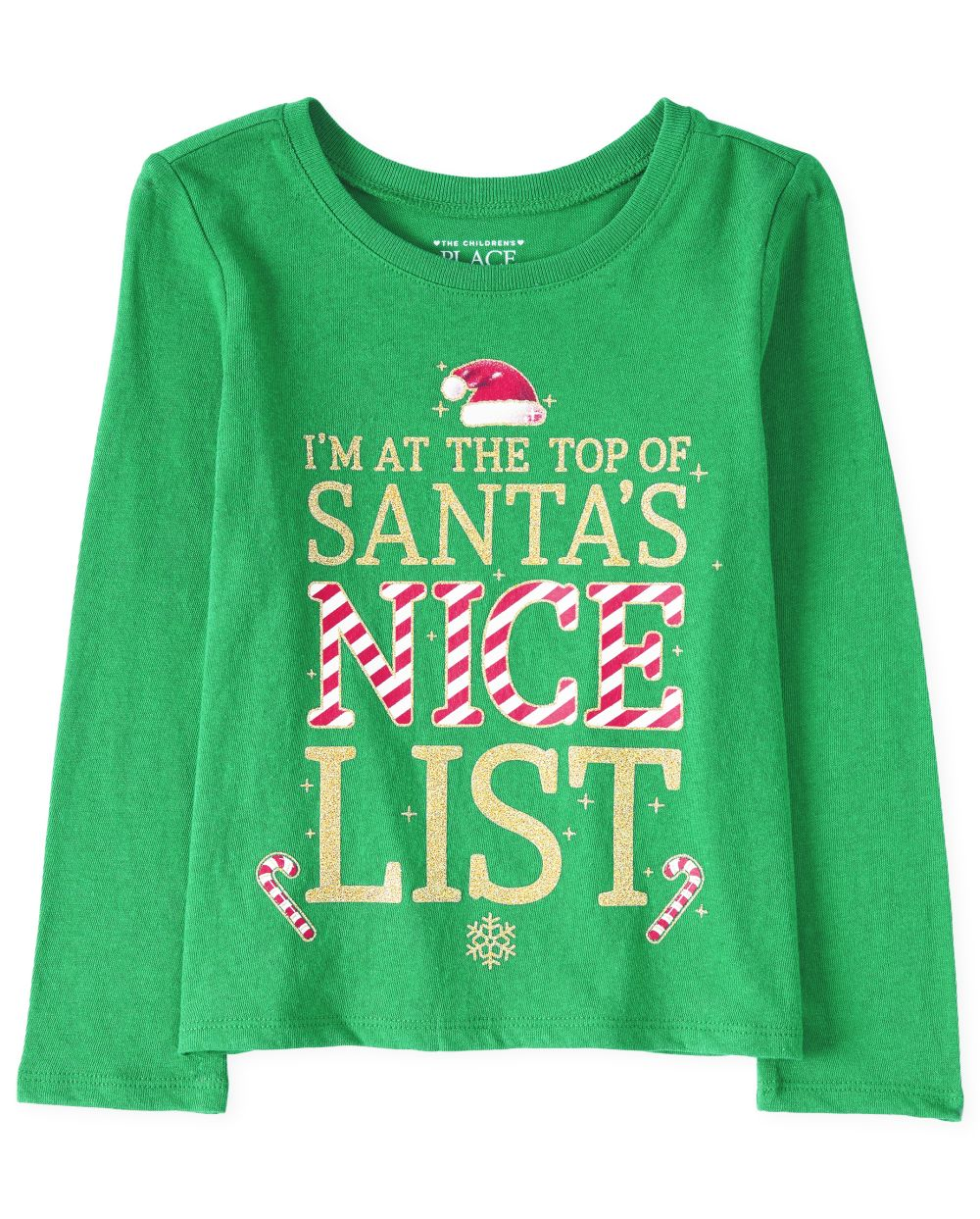 Baby And Toddler Girls Christmas Glitter Nice List Graphic Tee