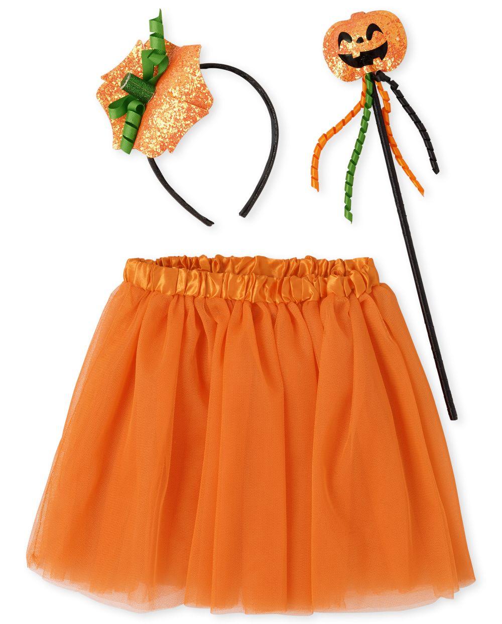 Conjunto de disfraz de calabaza de Halloween para niñas