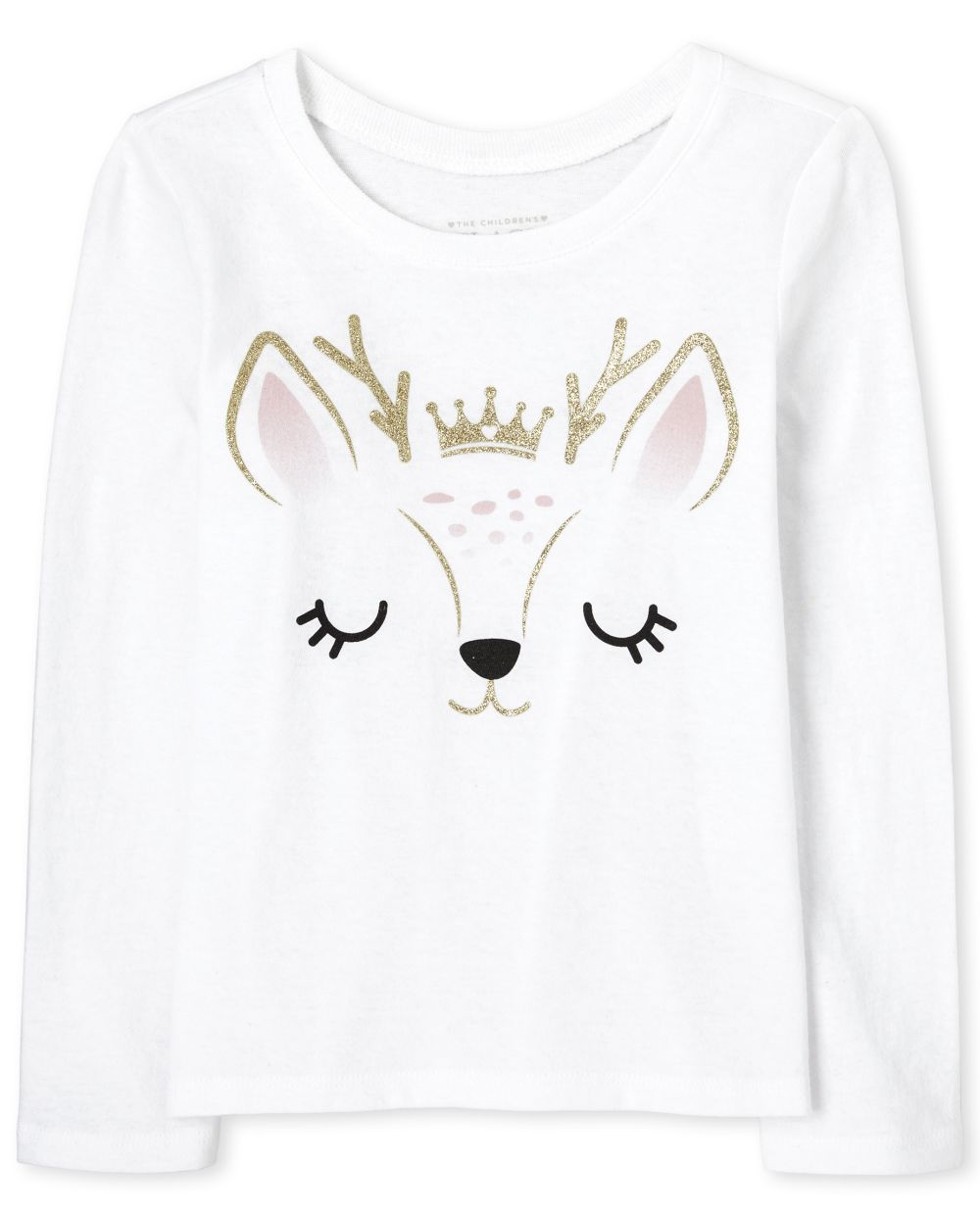 Baby And Toddler Girls Glitter Deer Graphic Tee
